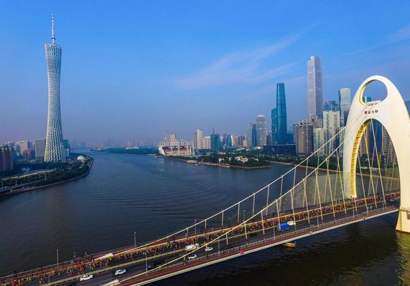 12月11日,天气晴好,2016广州马拉松参与者经过猎德大桥。南方日报记者 罗斌豪 郭智军 摄